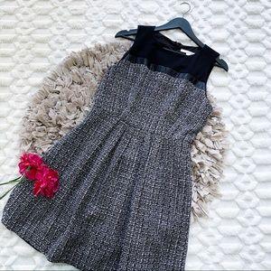 Boston Proper Black Tweed Fit N Flare Dress